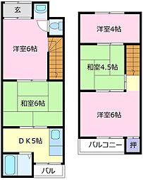 [テラスハウス] 大阪府松原市岡5丁目 の賃貸【/】の間取り