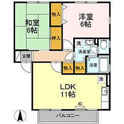 神奈川県川崎市宮前区菅生6丁目の賃貸アパートの間取り