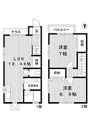 [テラスハウス] 東京都練馬区高松2丁目 の賃貸【/】の間取り