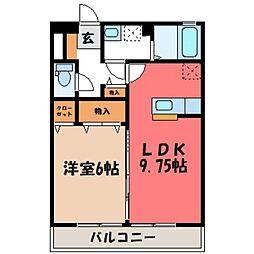 栃木県下野市駅東2の賃貸アパートの間取り