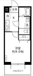 小田急多摩線 黒川駅 徒歩4分の賃貸マンション 3階1Kの間取り