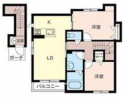大阪府松原市上田6丁目の賃貸アパートの間取り
