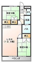 愛知県豊橋市佐藤5丁目の賃貸マンションの間取り