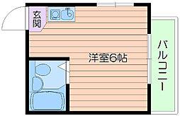 阪急千里線 関大前駅 徒歩5分の賃貸マンション 2階ワンルームの間取り