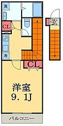 リブリ富士 2階1Kの間取り