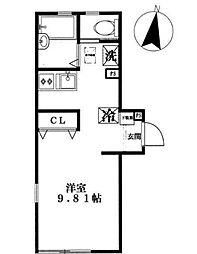 神奈川県川崎市高津区久本2丁目の賃貸アパートの間取り