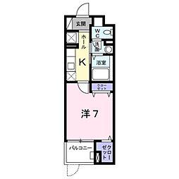 京王線 高幡不動駅 徒歩9分の賃貸マンション 2階1Kの間取り