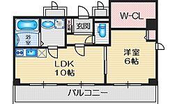 ヴァンルノワール新御堂 9階1LDKの間取り