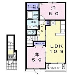 岡山県倉敷市連島3丁目の賃貸アパートの間取り