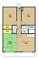 東京都立川市上砂町5丁目の賃貸マンションの間取り