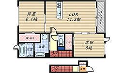 大阪府堺市南区片蔵の賃貸アパートの間取り