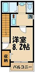 メゾネットパーク日野 2階1Kの間取り