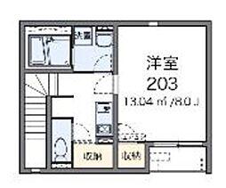 京王線 長沼駅 徒歩3分の賃貸アパート 2階1Kの間取り