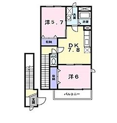 新潟県新発田市五十公野の賃貸アパートの間取り