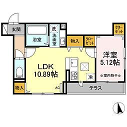 (仮)D-room長峰A棟 2階1LDKの間取り