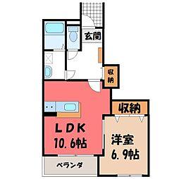 栃木県宇都宮市今泉新町の賃貸アパートの間取り