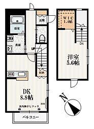 都営大江戸線 牛込柳町駅 徒歩2分の賃貸マンション 2階1DKの間取り