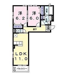 JR阪和線 和泉府中駅 徒歩17分の賃貸アパート 3階2LDKの間取り