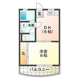 愛知県豊橋市東小鷹野2丁目の賃貸アパートの間取り