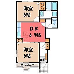 栃木県栃木市泉川町の賃貸アパートの間取り