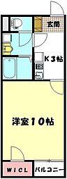 JR高崎線 上尾駅 バス10分 馬喰新田下車 徒歩4分の賃貸アパート 1階1Kの間取り