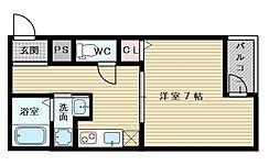 大阪府大阪市東淀川区下新庄5の賃貸アパートの間取り