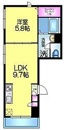 Sun Room 3階1LDKの間取り