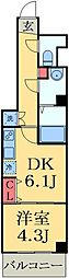 JR総武線 幕張本郷駅 徒歩2分の賃貸マンション 2階1LDKの間取り