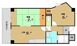 カーサカーロ板宿[1階]の間取り