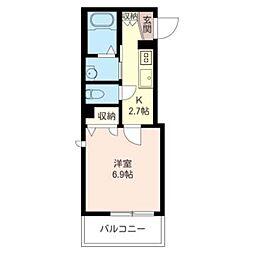 弘文堂 B 3階1Kの間取り