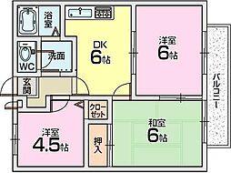大阪府枚方市田宮本町の賃貸アパートの間取り