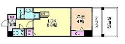 RIVER FRONT TSUKAMOTO[1階]の間取り