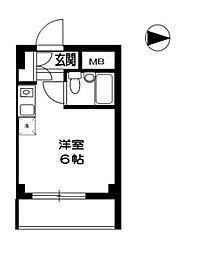 TOP東村山 B棟 5階ワンルームの間取り
