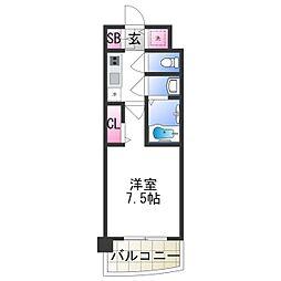 セレニテ日本橋プリエ 11階1Kの間取り