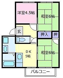 大阪府堺市中区深井東町の賃貸アパートの間取り