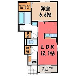 JR東北本線 宇都宮駅 バス24分 弁天橋下車 徒歩3分の賃貸アパート 1階1LDKの間取り