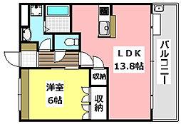 大阪モノレール彩都線 彩都西駅 徒歩13分の賃貸マンション 2階1LDKの間取り