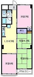 大阪府松原市高見の里4丁目の賃貸マンションの間取り