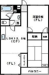 神木ロイヤルマンション[302号室]の間取り