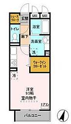 JR武蔵野線 越谷レイクタウン駅 徒歩10分の賃貸アパート 3階ワンルームの間取り