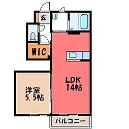 栃木県下野市川中子の賃貸アパートの間取り