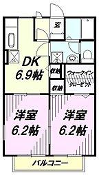 埼玉県川越市大字豊田本の賃貸アパートの間取り
