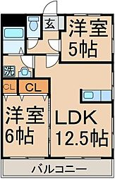 東京都東大和市芋窪3丁目の賃貸マンションの間取り