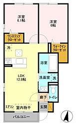 JR京浜東北・根岸線 大宮駅 バス10分 中丸下車 徒歩2分の賃貸アパート 1階2LDKの間取り