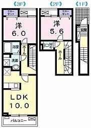 サニーサウス 1階2LDKの間取り