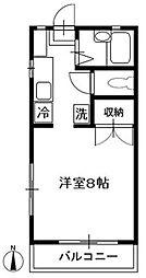 JR中央線 西国分寺駅 徒歩5分の賃貸アパート 1階1Kの間取り