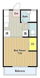 東京都多摩市永山2の賃貸アパートの間取り