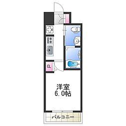 エグゼ阿倍野II 9階1Kの間取り