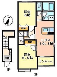 メゾン・ド・ルネ 2階2LDKの間取り
