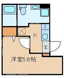 クラヴィール上野田原町 3階1Kの間取り